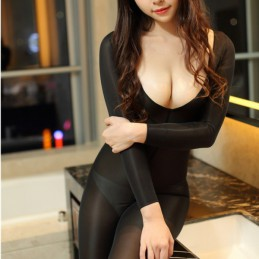Erotický průsvitný dres, catsuit s otvorem, Ice Silk