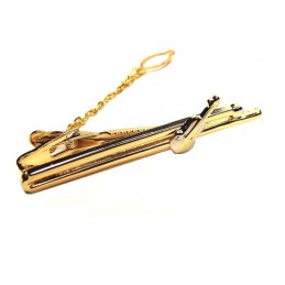 Spona viazanková zlatá s husľami, pre huslistu