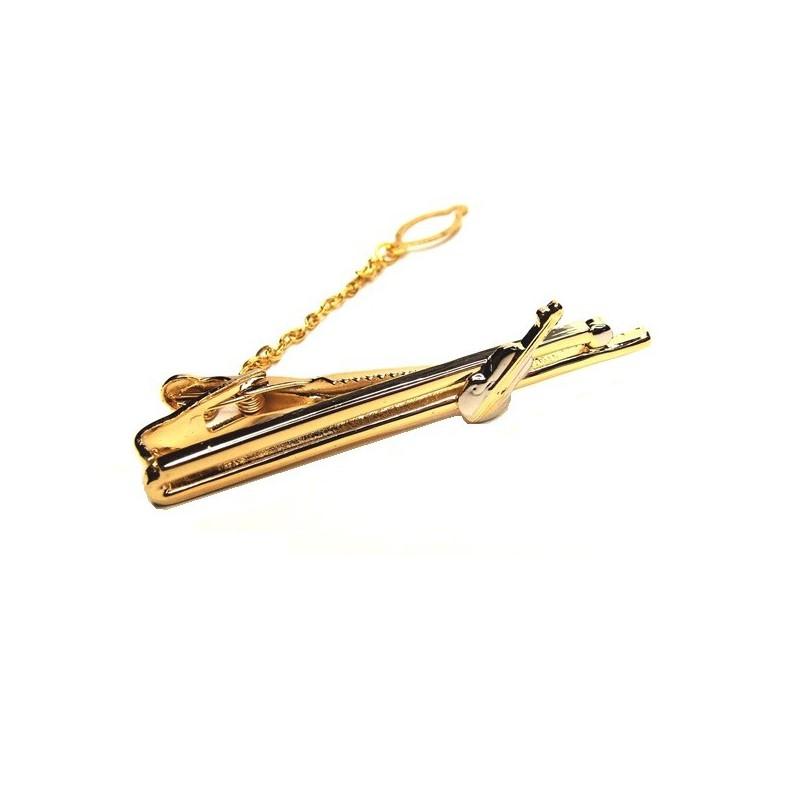 Spona kravatová zlatá s houslemi, pro houslistu