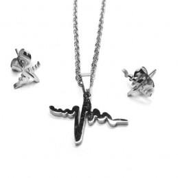 Súprava šperky prívesok a náušnice kôstky tlkot srdca z nerezovej ocele