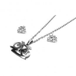 Set šperkov náušnice kôstky a prívesok koleso, cyklistka z chirurgickej ocele