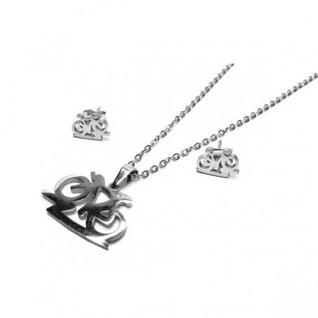 Set šperků náušnice pecky a přívěsek kolo, cyklistka z chirurgické oceli