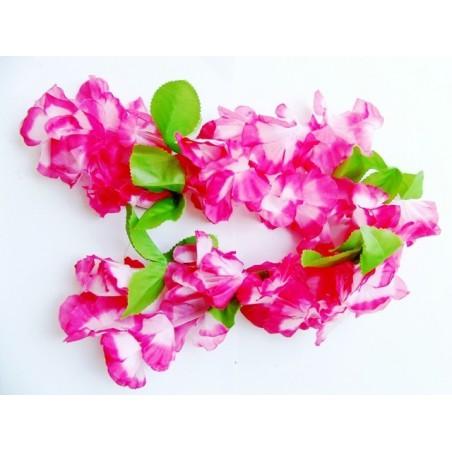 Hawaii věnce růžové se zelenými lístky bez potisku