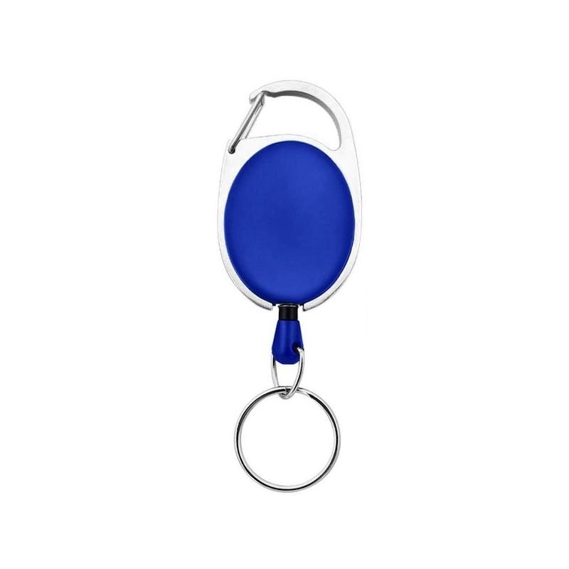 Roller klip, přívěsek karabinka s navijákem a kroužkem modrý