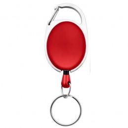 Roller klip, přívěsek karabinka s navijákem a kroužkem červený
