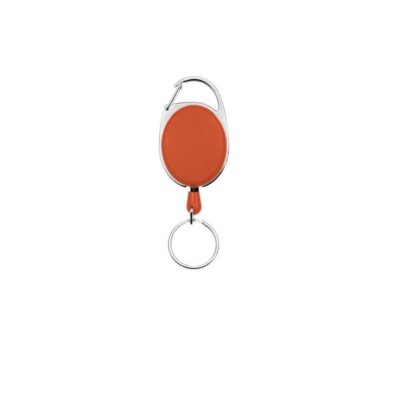 Roller klip, přívěsek karabinka s navijákem a kroužkem oranžový