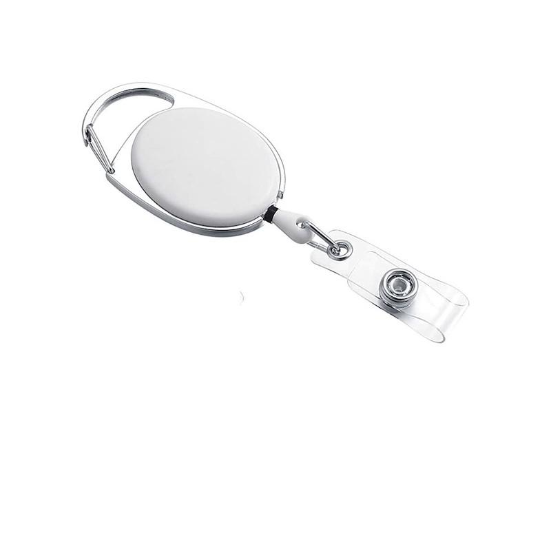 Roller klip, přívěsek karabinka s navijákem, držák na ID s drukem bílý