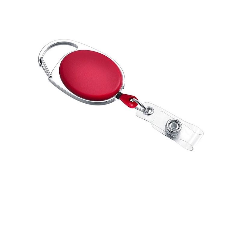 Roller klip, přívěsek karabinka s navijákem, držák na ID s drukem červený