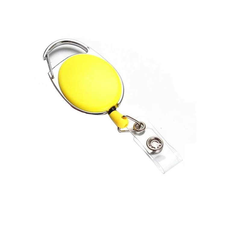 Roller klip, přívěsek karabinka s navijákem, držák na ID s drukem žlutý