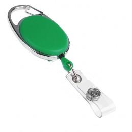 Roller klip, přívěsek karabinka s navijákem, držák na ID s drukem zelený