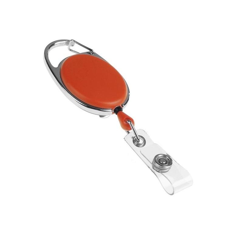 Roller klip, přívěsek karabinka s navijákem, držák na ID s drukem oranžový
