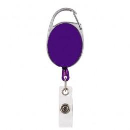 Roller klip, přívěsek karabinka s navijákem, držák na ID s drukem fialový
