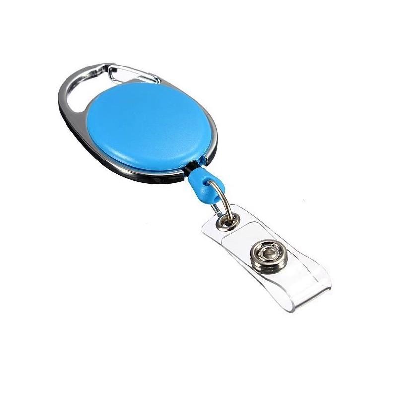 Roller klip, přívěsek karabinka s navijákem, držák na ID s drukem světle modrý