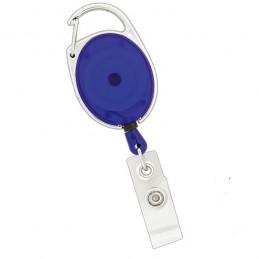 Roller klip, přívěsek karabinka s navijákem, držák na ID s drukem transparentní modrý