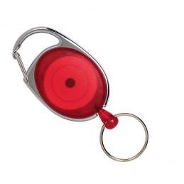 Roller klip, přívěsek karabinka s navijákem a kroužkem, transparentní červený
