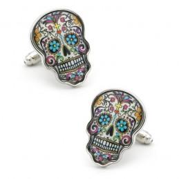 Manžetové knoflíčky barevná mexická lebka, catrina, skull