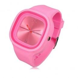 Silikónové hodinky športové, štvorcové, jelly ružové