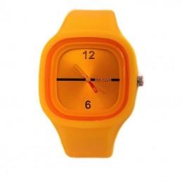 Silikónové hodinky štvorcové, farebné, jelly oranžové