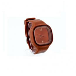 Jelly Square silikonové hodinky, sportovní hnědé