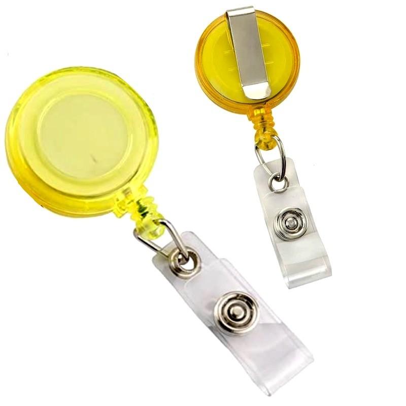Roller s navijákem a klipsem, držák na ID s drukem žlutý
