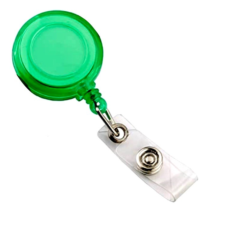 Roller s navijákem a klipsem, držák na ID s drukem zelený