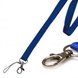 Lanyardy, šňůrky na krk 2cm, s kovovou karabinkou a očkem, bez potisku modré
