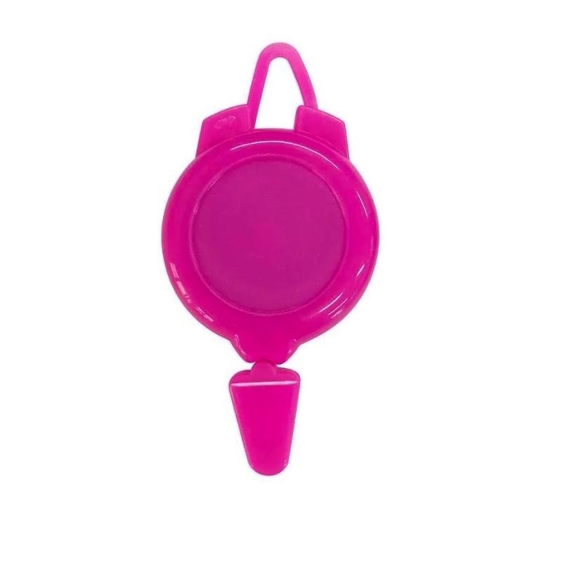 Rollery, držáky na skipas, permanentku, navijákem, plast tmavě růžový