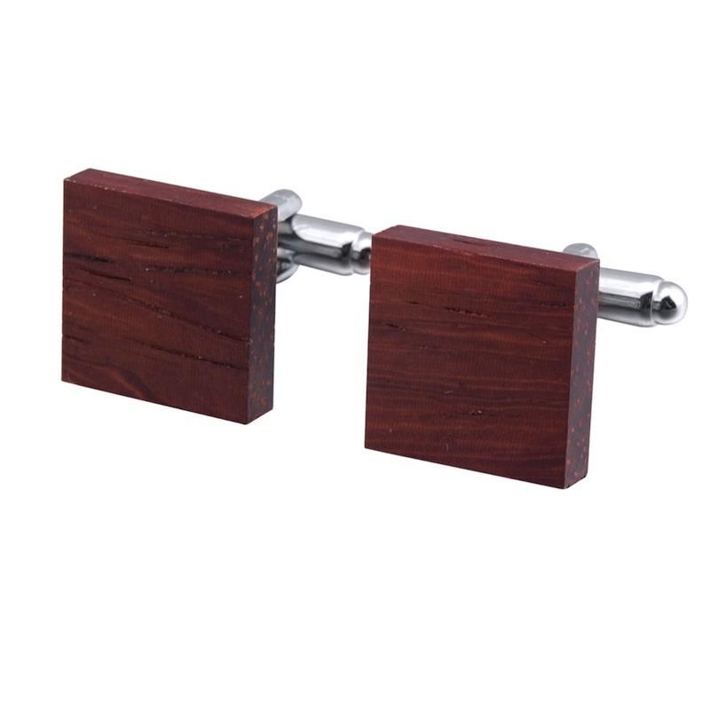 Manžetové knoflíčky dřevěné čtvercové mahagon