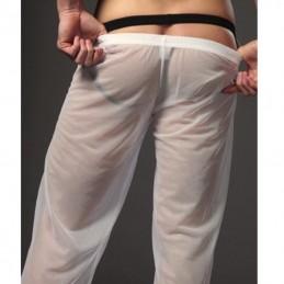 Pánske pyžamové nohavice, na spanie, sieťované, priesvitné  biele