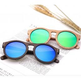 Dřevěné sluneční brýle Havana s barevnými zrcadlovými skly