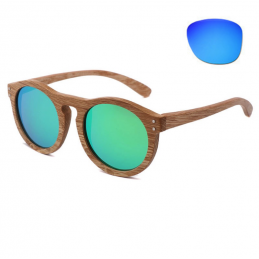 Dřevěné bambusové sluneční brýle Havana s modrými skly