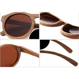 Bambusové sluneční brýle Havana s barevnými skly