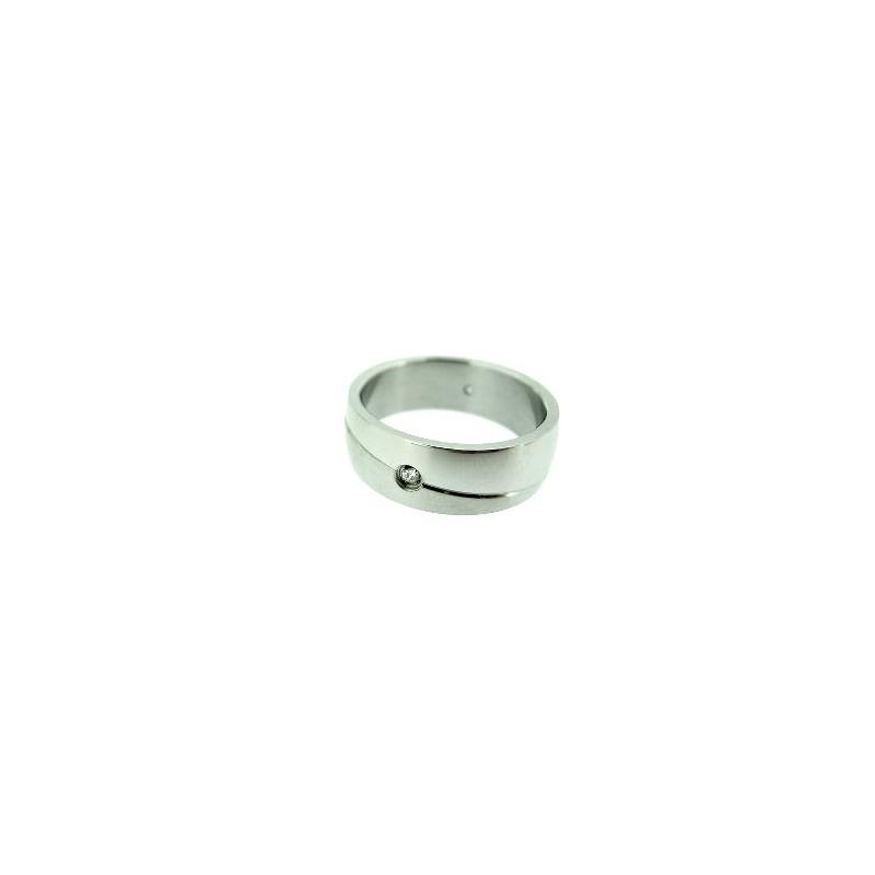 Prsten dámský z chirurgické oceli a bílým kamínkem