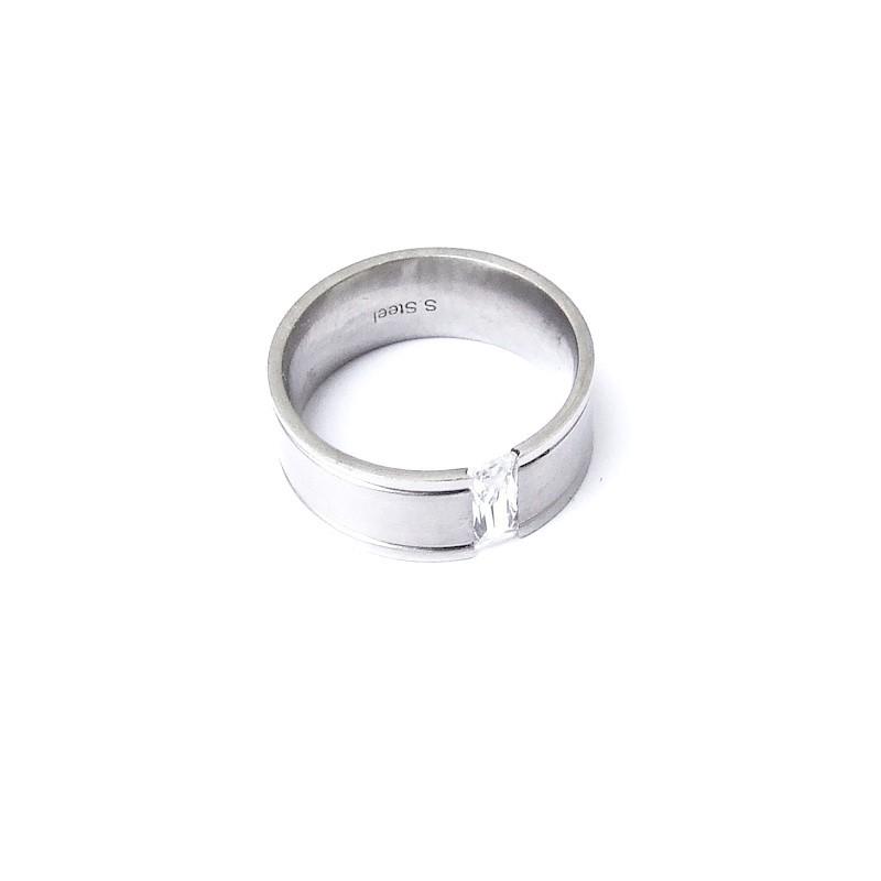 Prsten široký z chirurgické oceli a kamenem