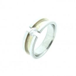 Prsten ocelový stříbrná zlatá s kamínkem