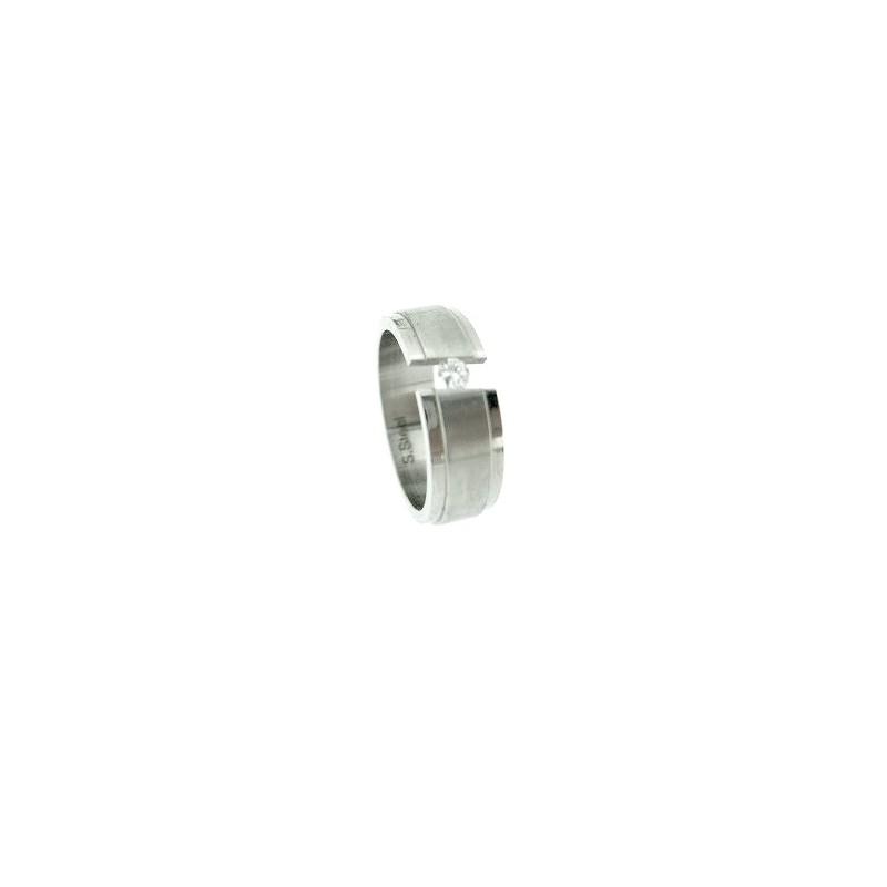 Prsten široký z chirurgické oceli se zirkonem