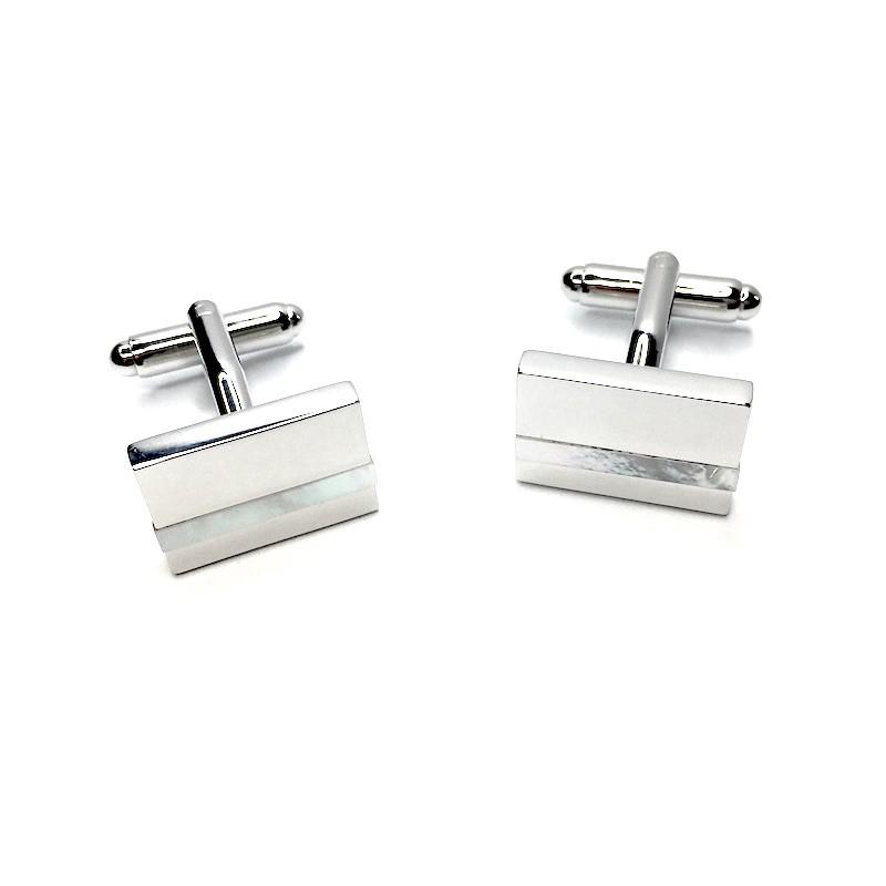 Manžetové knoflíčky stříbrný obdélník s perleťovým pruhem