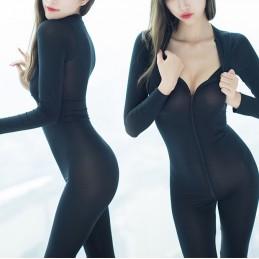 Catsuit poloprůhledný s dvoucestným zipem Ice Silk černý