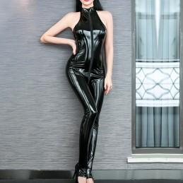 Erotický lakový catsuit, overal s dvoucestným zipem