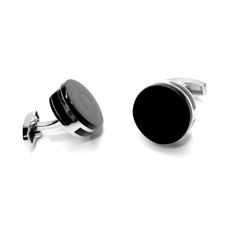Manžetové knoflíčky kulaté, stříbrná s černou