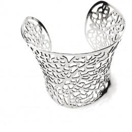 Náramek pevný široký s vyřezávanými ornamenty nerezová ocel