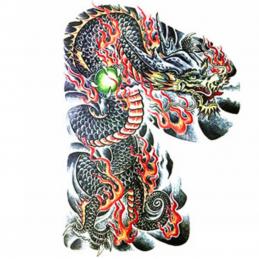 Tetování veliké na celá záda, smývatelné, design ohnivý drak, dragon