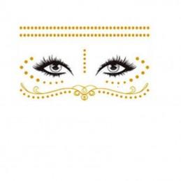 Jednorázové metalické dočasné tetování na obličej zlaté tečky, ornamenty