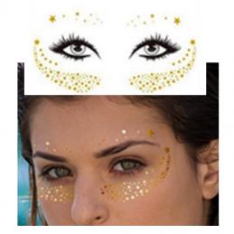 Jednorázové metalické dočasné tetování na obličej zlaté hvězdičky, hvězdy