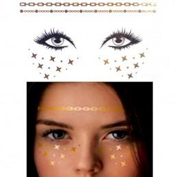 Nalepovací metalické dočasné tetování na obličej zlaté hvězdy a řetízky