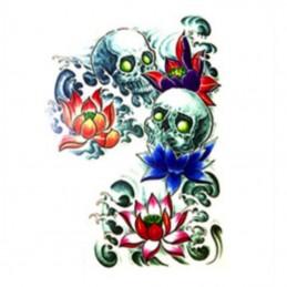 Falešné barevné tetování maxi na záda, design lebky, smrt