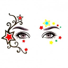 Nalepovací dočasné tetování na obličej barevné hvězdy, dekorace na tvář