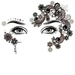 Jednorazové dočasné tetovanie na tvár čierne kvety, diamanty