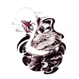 Dočasné nalepovací tetování na lopatku, lýtko s motivem labuť