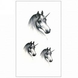 Dočasné čiernobiele nalepovacie tetovanie jednorožec, unicorn